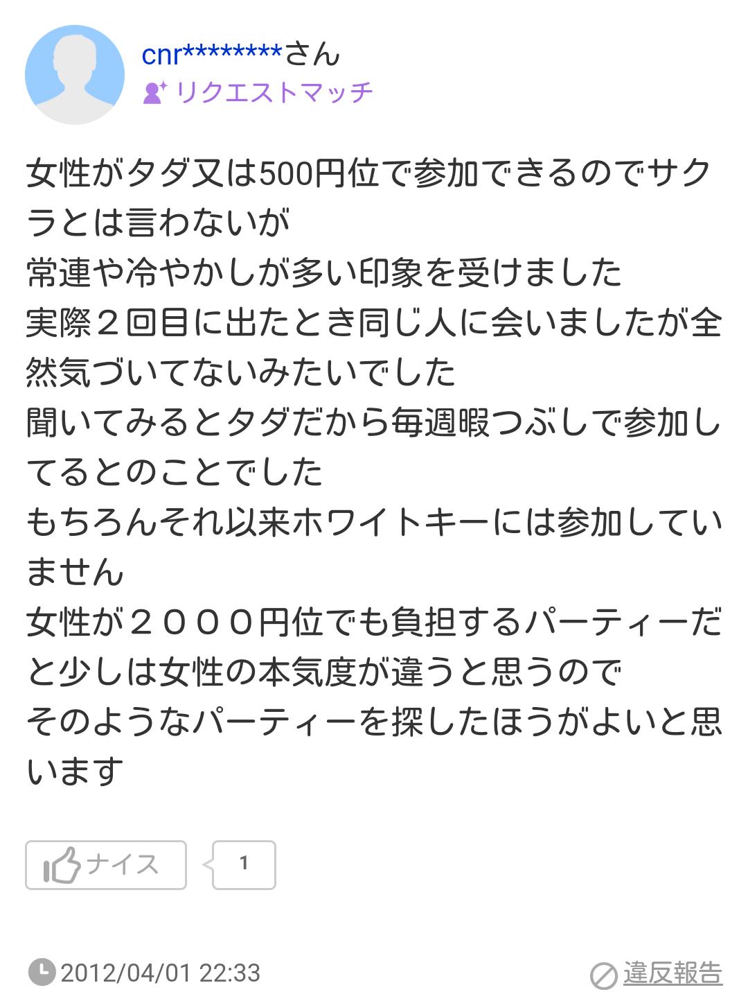 女性がタダ又は500円位で参加できるのでサクラとは言わないが常連や冷やかしが多い印象を受けました実際2回目に出たとき同じ人に会いましたが全然気づいてないみたいでした聞いてみるとタダだから毎週暇つぶしで参加してるとのことでしたもちろんそれ以来ホワイトキーには参加していません女性が2000円位でも負担するパーティーだと少しは女性の本気度が違うと思うのでそのようなパーティーを探したほうがよいと思います